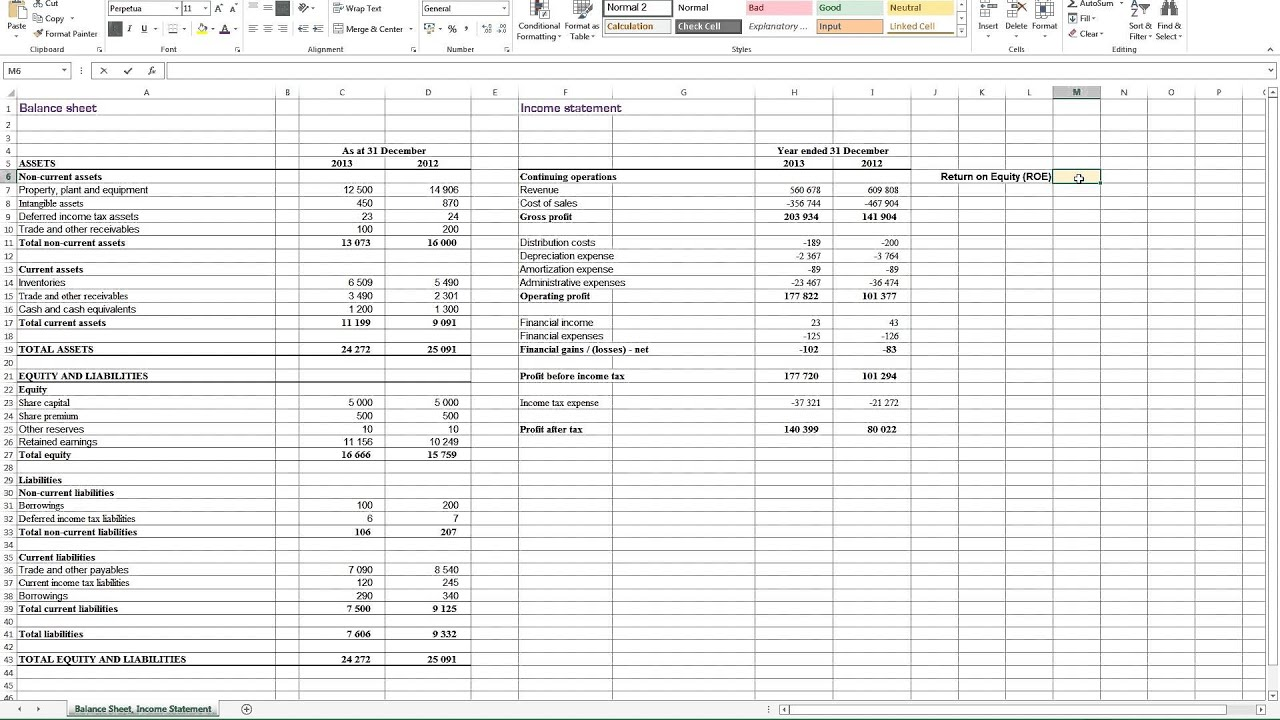 Calculating Return On Equity ROE In Excel