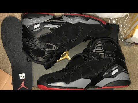 "Sneaker Review:2017' Air Jordan 8 ""BREDS""( Jordan 8-1998) GYM RED/WOLF GREY-BLACK(  #Sgk23Tv"