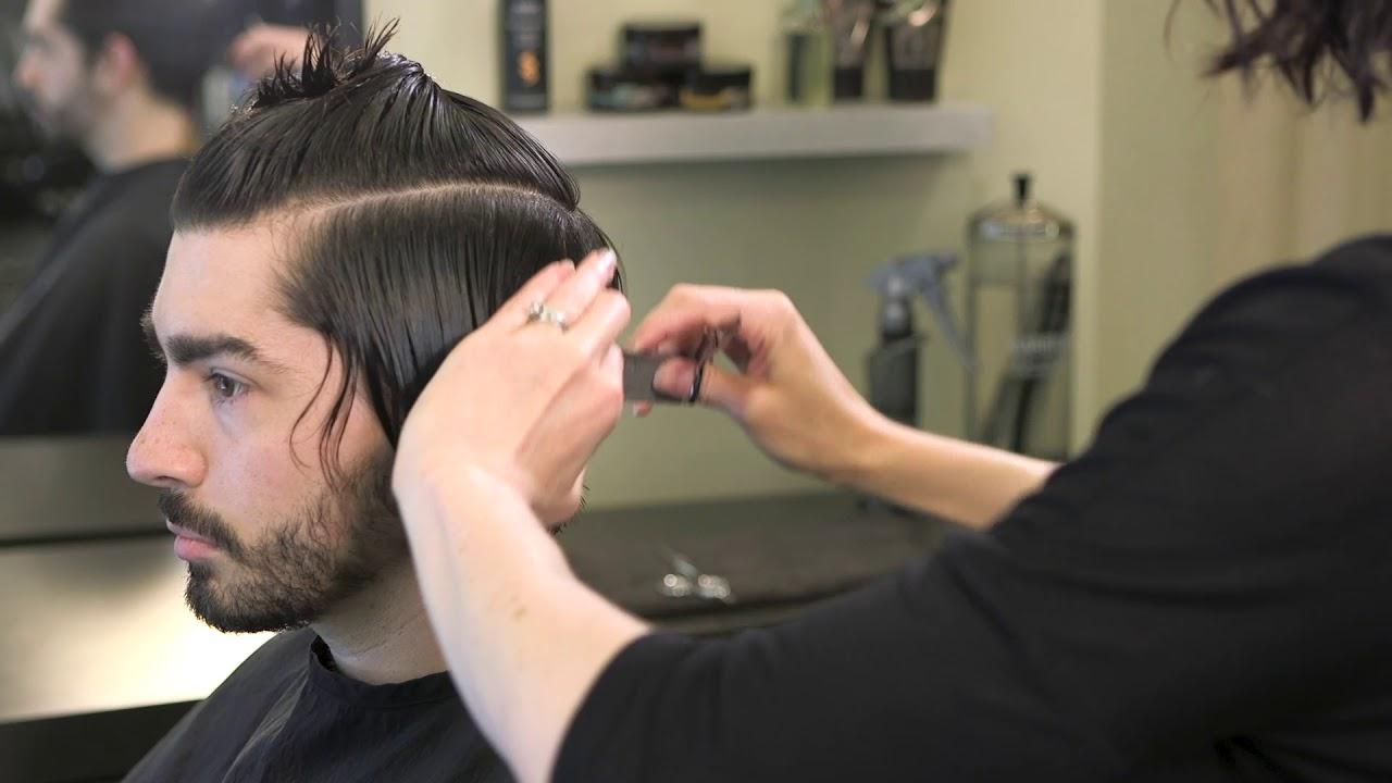 Classic Men S Medium Length Haircut With Shear Clipper Youtube