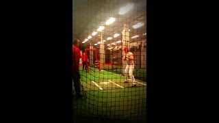 Baseball Recruit Nick Hart hitting with Yankees Kevin Long