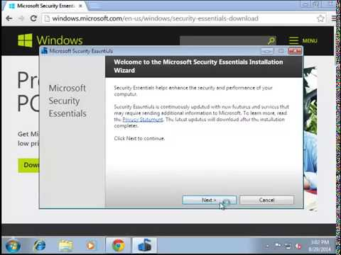 Installing Microsoft Security Essentials on Windows 7