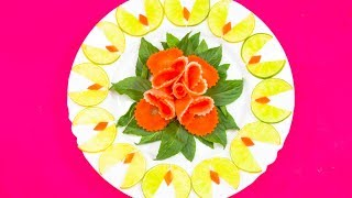 Very Satisfying Video | Brilliant Garnish of Radish & Carrot Rose Surrounded by Lime & Basil Leaves