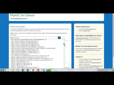 mathxl for school resources in easybridge youtube