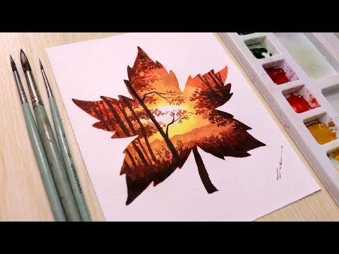 Watercolor painting for beginners sunset landscape easy – Double exposure painting