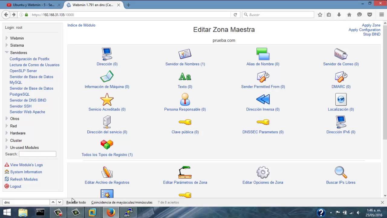 DNS SERVER WEBMIN (CENTOS 7)
