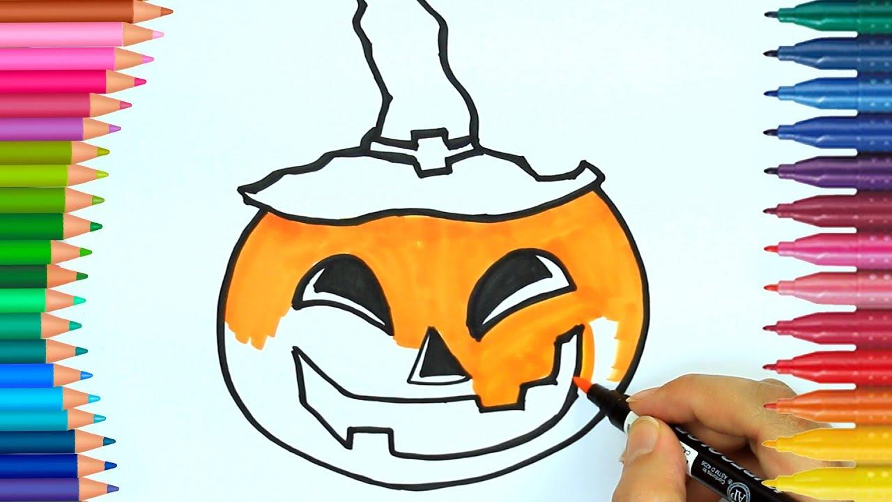 Kolorowanki Dynia Jak Narysowac Dynie Dowiedz Sie Kolory Ksiazki Do Kolorowania Halloween Youtube