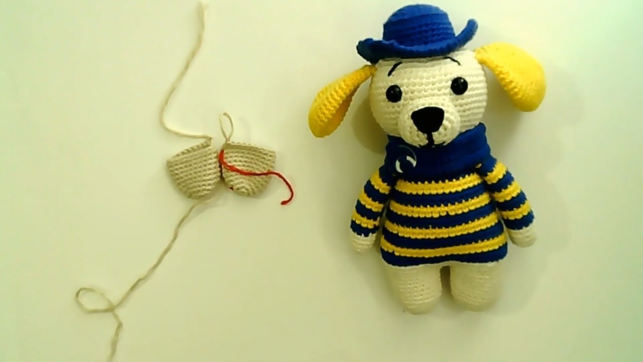 Amigurumi şapkalı köpek yapımı Amigurumi şapkalı köpek bacak yapımı -03