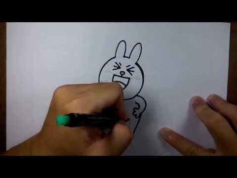วาดการ์ตูน กันเถอะ สอนวาดรูป การ์ตูน กระต่ายน้อย โคนี่ ชูสองนิ้ว