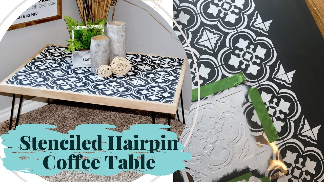 Diy Hairpin Coffee Table Using A Tile Stencil And Chalk - Diy Table Using Flooring