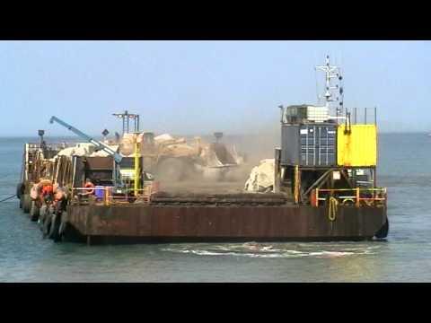Borth Sea Defence unloading of Charlie Rock on 10th april 2011