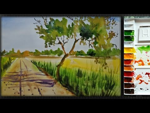 Simple watercolor landscape painting for beginners ||Artdrashti