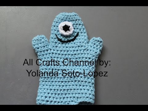 Easy to crochet bath mitt - One eye blue monster baby bath mitt