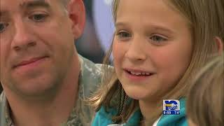Soldier on R&R Surprises Daughter at School