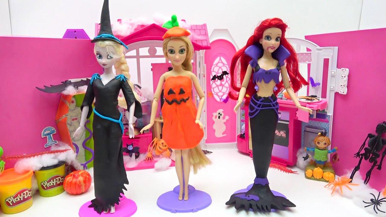 アナと雪の女王とプリンセス ハロウィンドレスに変身❤DIY ねんどの手作り衣装 お姫様 エルサ アリエル ラプンツェル ✨ Play Doh DIY Halloween Dress