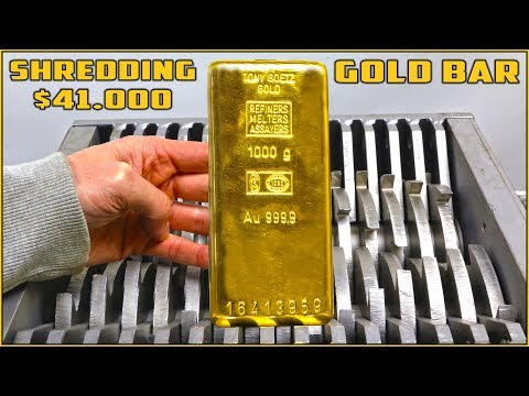 Shredding $41,000 SOLID GOLD BAR in SHREDDING MACHINE
