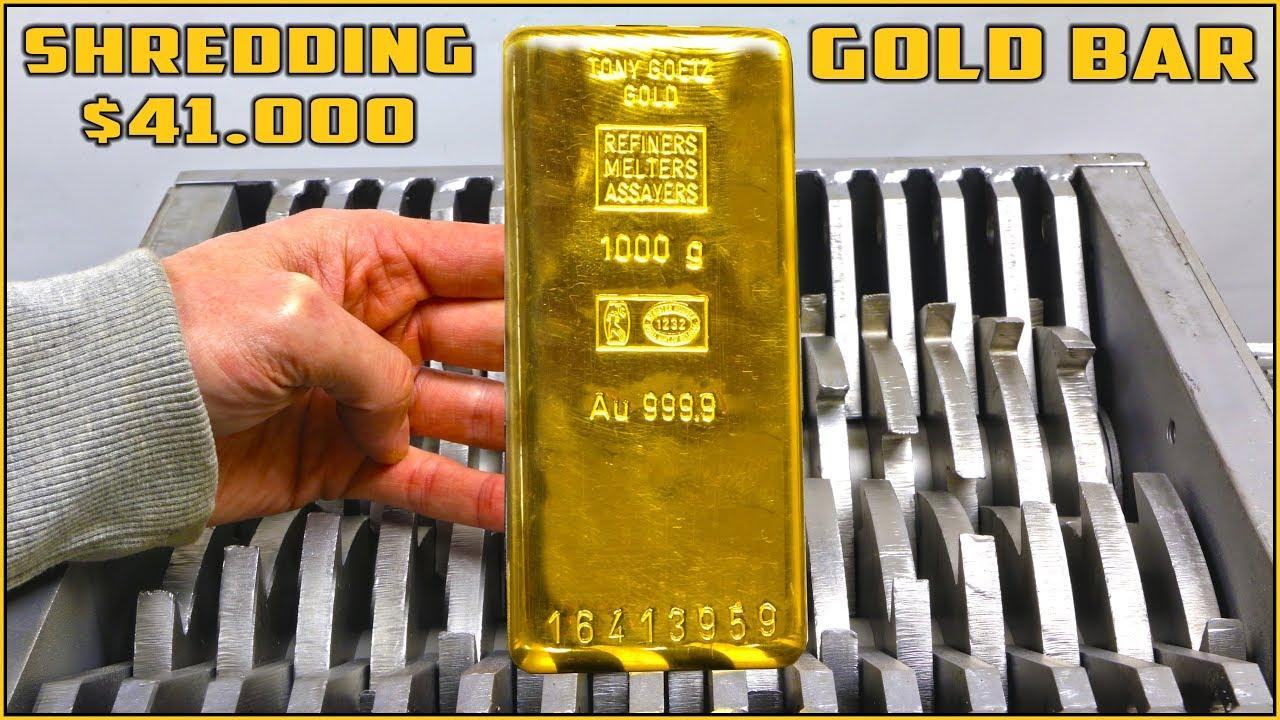 Solid Gold Bar In Shredding Machine
