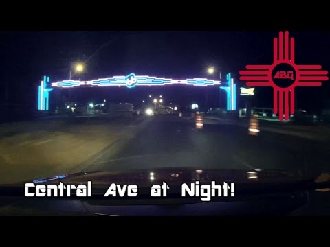 Downtown Albuquerque at Night- Central Ave Route 66