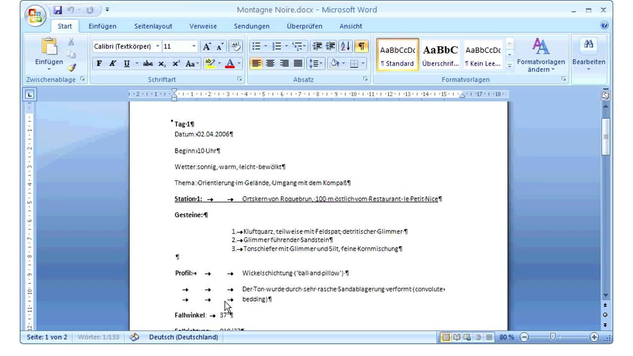 Microsoft Office Word 2007 Absatzmarken Und