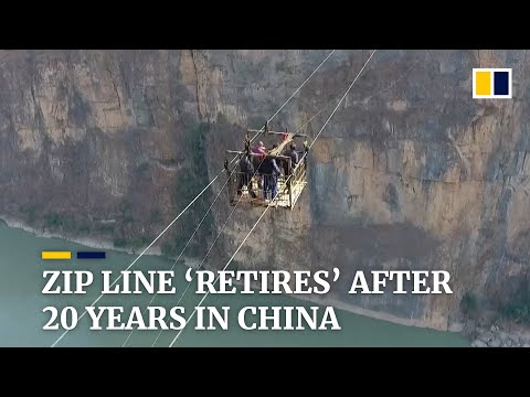 Thrilling commuter zip line 'retires' in southwest China after 20 years