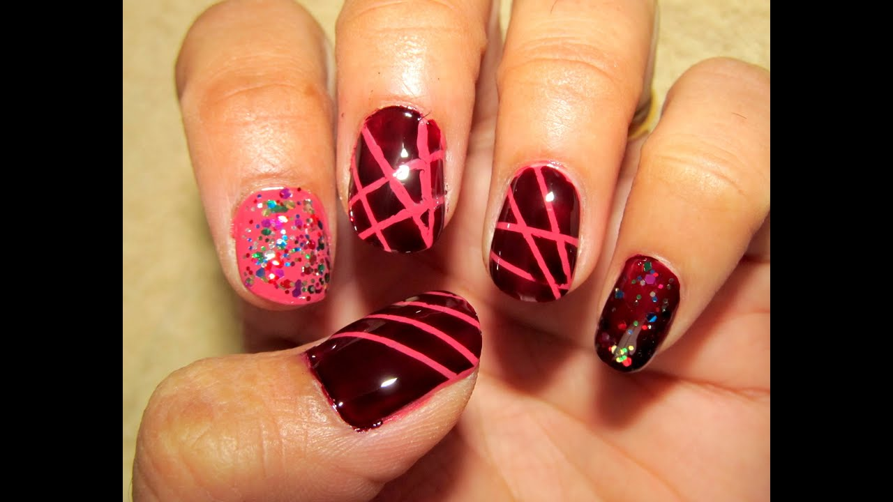 Simple Nail Art design using Striping Tape - YouTube