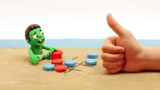 Sand beach games 💕Superhero Play Doh Stop motion cartoons