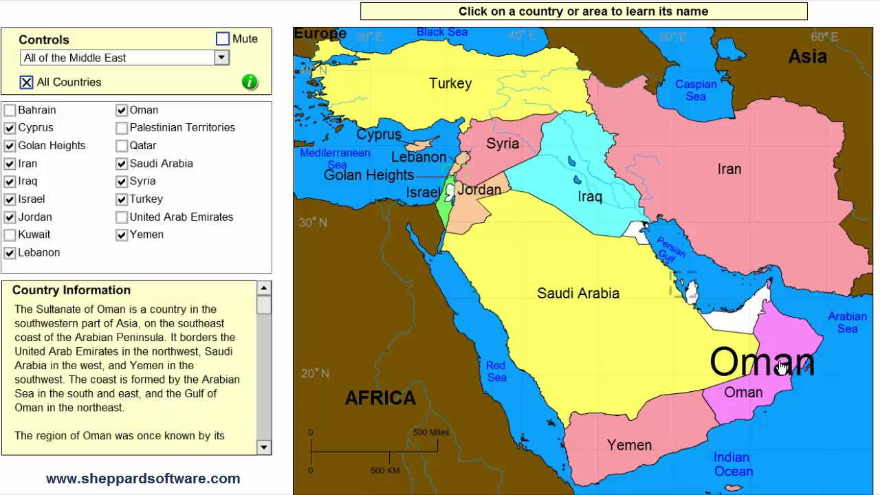 Learn the countries of the Middle East! - Geography Map Game ...
