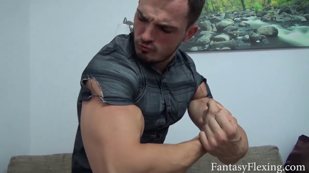 f7b325ca Huge ripped biceps ripping tight shirt by flexing - YouTube