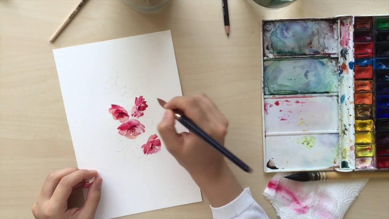 Suluboya Cicek Watercolor Flower Youtube