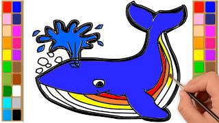 How to Draw and Color a Whale | Drawing Extra
