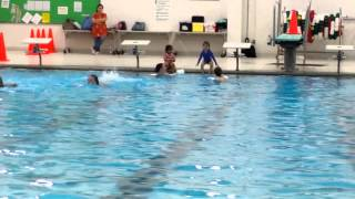Swim by herself..