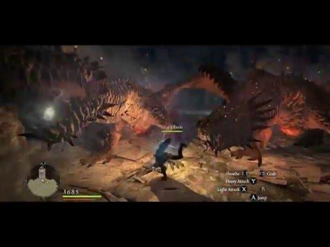 Video Mystic Knight Vs 2 Firedrakes No Damage Dragons Dogma
