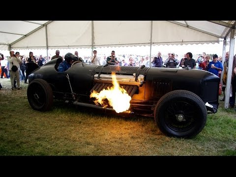 42L V12 1500bhp Packard Powered Bentley Shooting Flames at Cholmondeley Pageant of Power 2014