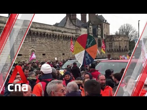 France hit by nationwide strike as hundreds of thousands protest pension reforms