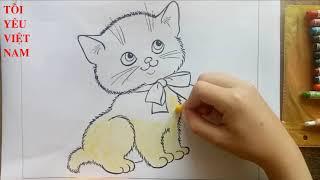 Phát tô màu tranh con mèo - Painting a picture of cat