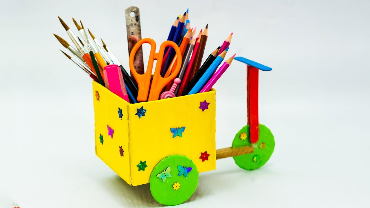How to make cycle pencil holder youtube for Wealth out of waste project