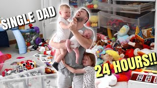 24 HOURS AS A SINGLE DAD || TODDLER AND NEWBORN!!