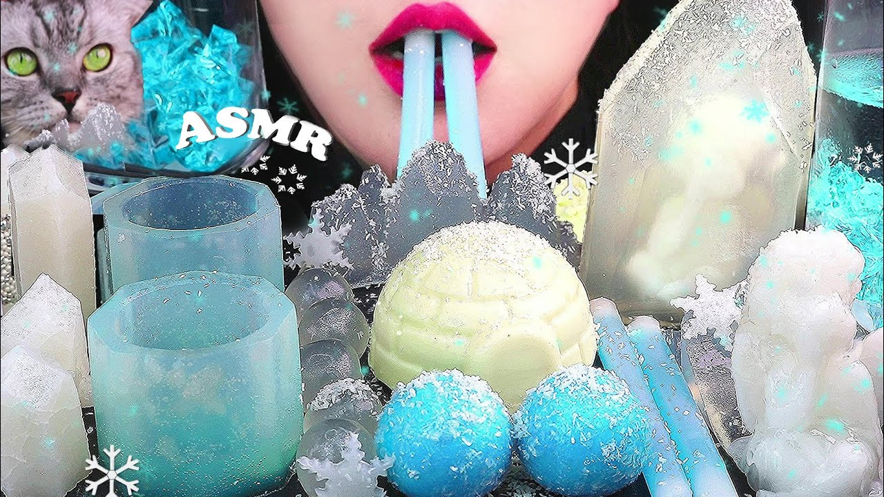 ASMR EDIBLE ICE LAND🌟 Frozen angel Crystal igloo ポッピングボバ  코하쿠토 닉클립 먹방 eating sounds MUKBANG 咀嚼音 食べる音