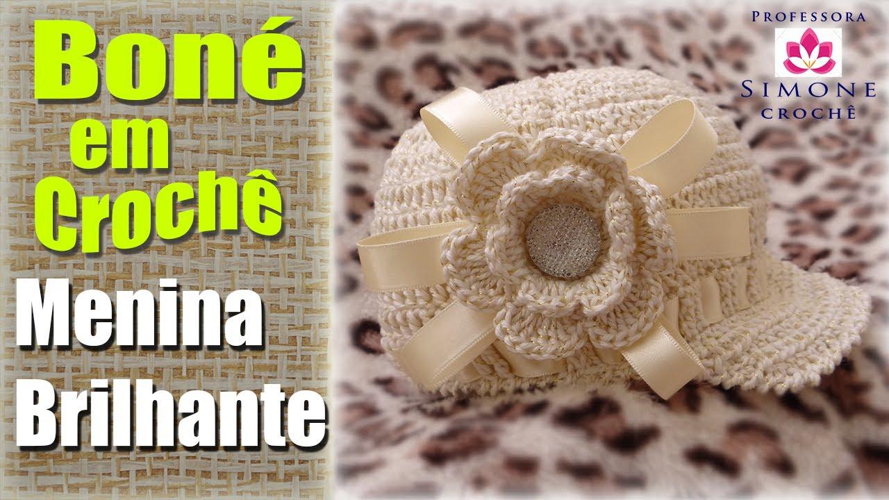 61e6e1afe8468 Passo a passo Boné   Gorro infantil Crochê Menina Brilhante - YouTube