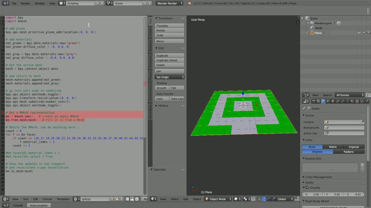 Blender Python Scripting, Bmesh Example Scripts Explained ...
