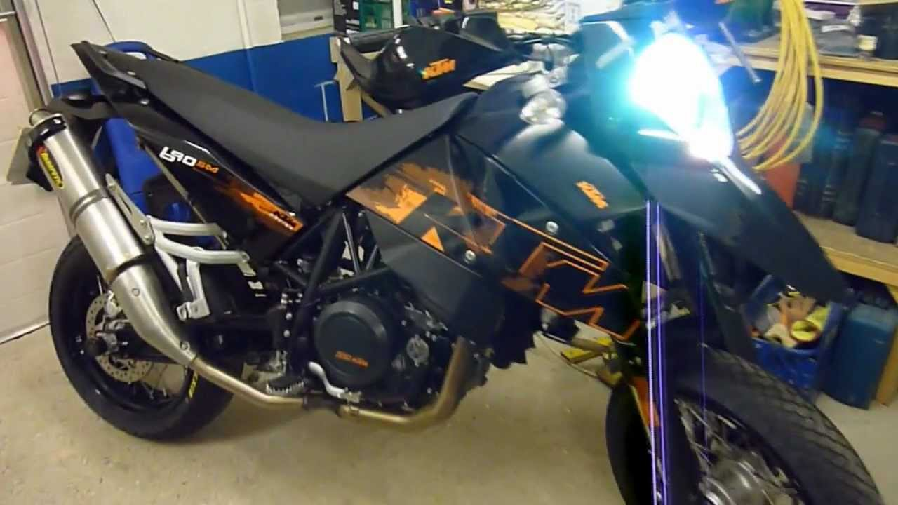 ktm lc4 690 sm - full akrapovic exhaust system - youtube