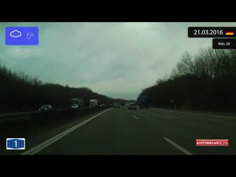 Driving through Nordrhein-Westfalen (Germany) from Köln to Leverkusen 21.03.2016 Timelapse x4