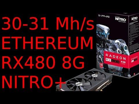 30-31 MH/s RX480 8G AMD Sapphire Nitro+ Bios Mod Ethereum Mining XFX MSI  Monero