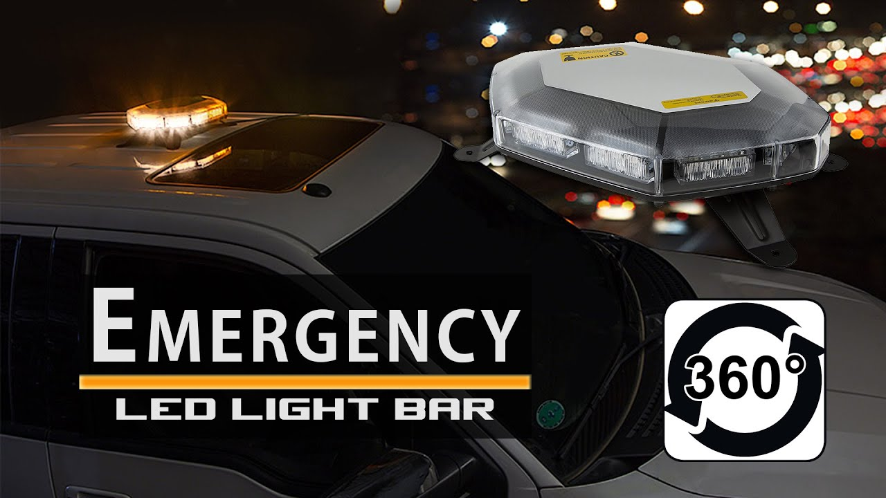 Mini 360 degree led emergency light bar strobe amber white youtube aloadofball Choice Image