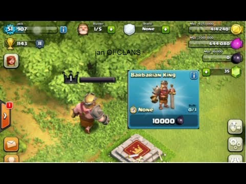 Clash of clans   Buying the barbarian king
