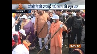 CM Yogi Adityanath begins cleanliness drive from Gomti river bank in Lucknow