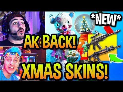 STREAMERS USE *NEW* SCOPED AR + AK BACK! *ALL* CHRISTMAS SKINS UNLOCKED! (Fortnite)