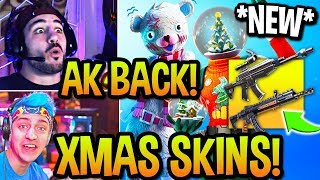 STREAMERS USE *NEW* SCOPED AR + AK BACK! *ALL* CHRISTMAS SKINS UNLOCKED! (Fortnite)