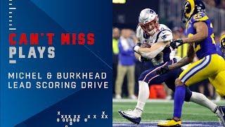 Long Runs by Michel & Burkhead Leads to Gostkowski FG | Super Bowl LIII Can't-Miss Play
