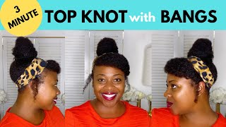 How To: Top Knot Bun with Bangs| Snappee Hair Ties| Bun Hairstyles for Natural Hair