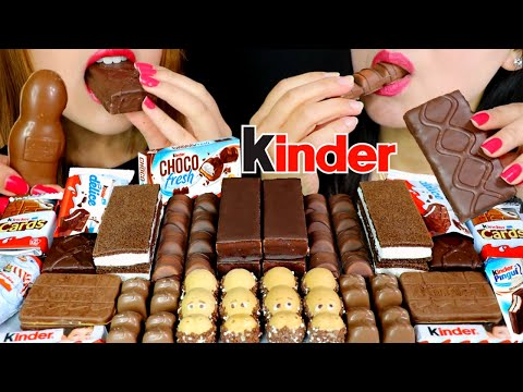 ASMR KINDER CHOCOLATE PARTY (HAPPY HIPPOS, CHOCOLATE CAKE, DELICE) 초콜릿 리얼사운드 먹방 | Kim&Liz ASMR